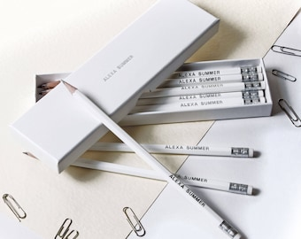 High Quality Personalised Pencils in a Box -Printed with Name - GLACIER WHITE (plus other colours)
