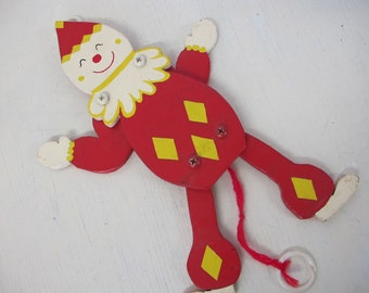 Child's Wooden Toy Clown Pull Toy 1940's Toy