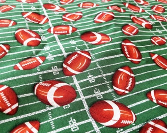 Footballs & Football field Cotton Fabric By the Yard |  Football Cotton Sewing | Fabric for him | Football Collage Background