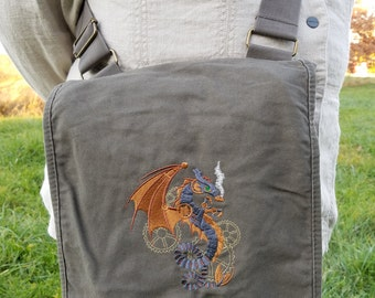 Field bag with embroidered steampunk dragon