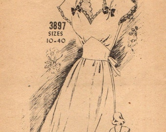 Mail Order NIGHTGOWN DRESSING GOWN Bust 34 Pattern #3897 Vintage 1940s ©1944 Fashion Service San Francisco Original Mailing Envelope