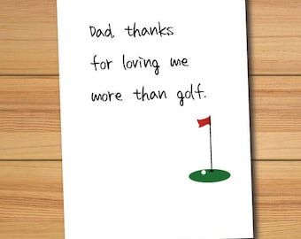 Father's Day Golf Funny Greeting Card - Printable - DIY - 5x7