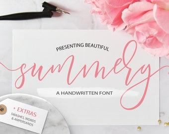 Summery Handwritten Calligraphy Font. Digital font. Swash font. Handwritten font modern calligraphy font wedding font. Bouncy font. Typeface