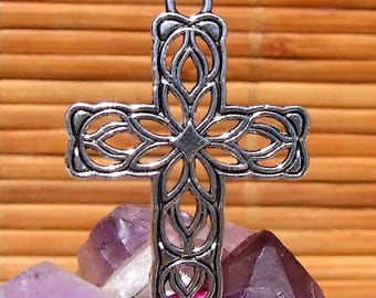4 connector spacer stylized cross ornate metal silver / size: 4 cm x 2.8 cm