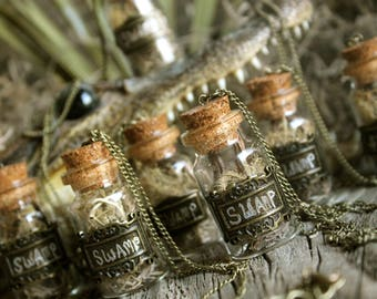 Swamp in a Bottle, One Corked Glass Bottle Necklace with Spanish Moss, Cypress Bark, Muscadine Vine, & Swamp Lichen from Manchac Swamp, La