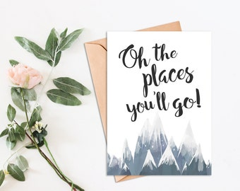Graduation Card, Oh the Places You'll Go, graduation gift card, for her, graduation gift men, printable, graduation cards, graduation card