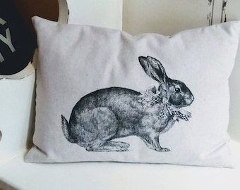 Bunny Rabbit Pillow / Pillow Cover 12x16