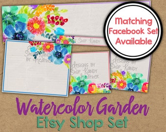 Watercolor Etsy Banner Set - Rainbow Watercolor Etsy Shop Banner - Floral Watercolor Banner - Watercolor Flower Etsy Shop Banner