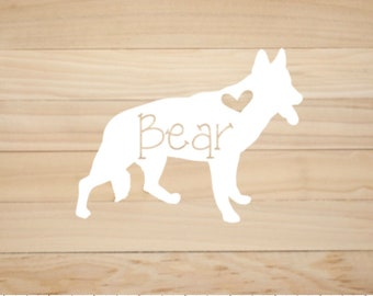 Personalized German Shepherd decal, Custom decals for pet lovers! Pick your color and font!