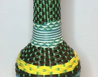 CLEARANCE Plastic Woven/Wrapped Empty Glass Bottle With Rubber Stopper Retro Decanter Vintage