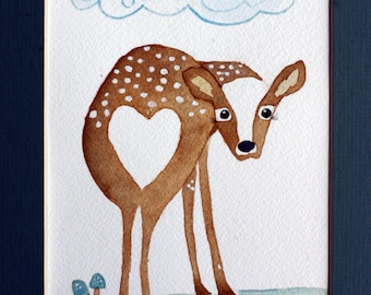 I love you dearly, doe, deer, fawn, original watercolor, brown and green, children's, nursery art, whimsical, heart, woodland, forest
