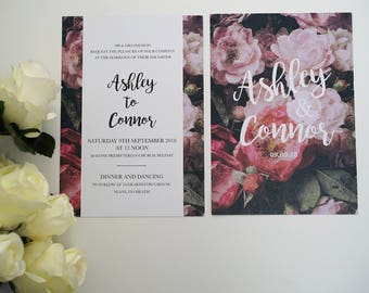 Dark Floral A5 Wedding Invite