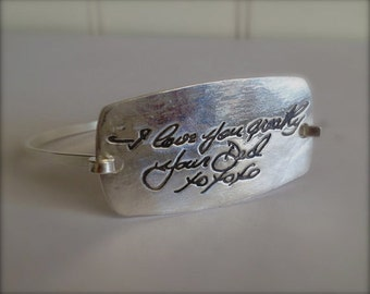 Memorial Jewelry-Extra Large Silver Curved rectangle Tension Bracelet -Made to Order