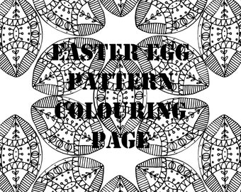 Easter Egg Pattern Digital Printable Colouring Page