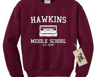 Hawkins Middle School AV Club Crewneck Sweatshirt - Stranger Sweater Crewneck Pullover - Unisex Fit - Ultra Soft - Ultra Comfy - Made In USA