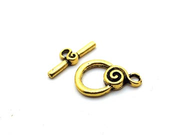 x 2 T Toggle clasps in antique gold metal, small spiral: AF0114