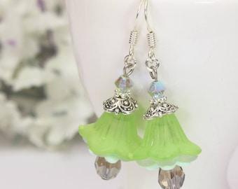 Green Flower Earrings, Trumpet Lily Dangles, Green Earrings, Lucite Flower Earrings, Petunia Earrings, Bridesmaids Gift, Floral Earrings