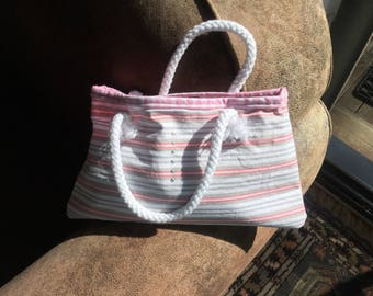 Child purse nice cotton stripe pink and grey and cotton pink gingham