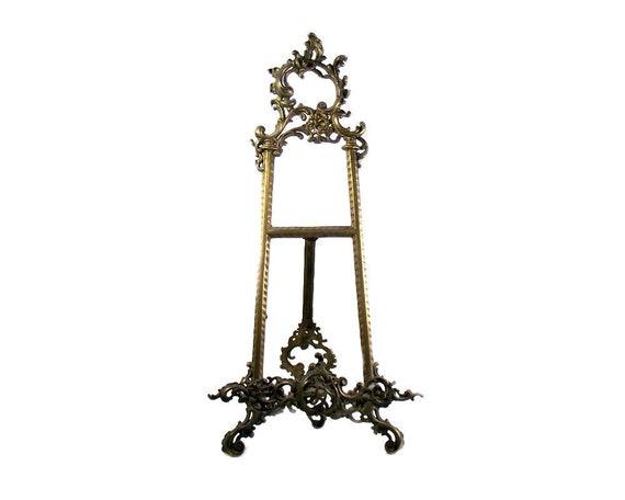 """20"""" Tall Ornate Brass Easel"""
