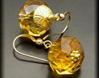 COGNAC ~ Whiskey Quartz 14kt Gold Fill Earrings
