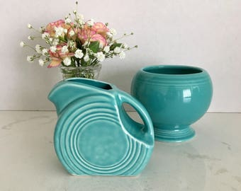 Fiesta Ware Mini Disc Pitcher and Sugar Bowl in Turquoise Fiesta Ware Pitcher