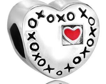 Pugster Bead - Heart - Love - XOXO - Hugs And Kisses - Large Hole - Fits European - Charm Bracelets