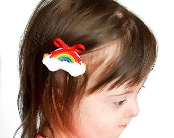 Rainbow Hair Clips, Rainbow Clips, Rainbow Bow, Felt Hair Clips, Rainbow Birthday Hair Clip, Pigtail Hair Clips, School Hair Clip, Feltie