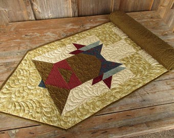 Quilted Christmas Table Runner, Brown Red Holiday Runner, Traditional Bell Table Runner, Large Country Dresser Runner, Custom Feather Quilt