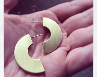 Thick brass hoop studs