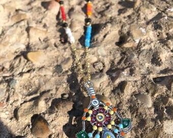 Hamsa Hand Lava Bead Aromatherapy Diffusing Necklace