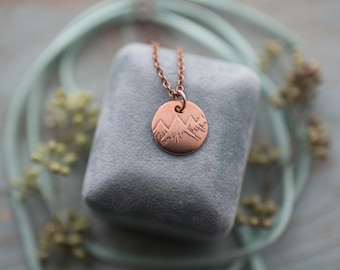 Dainty Rocky Mountain Range Etched Copper Pendant Necklace, Jasper, Banff, Canmore, Alberta