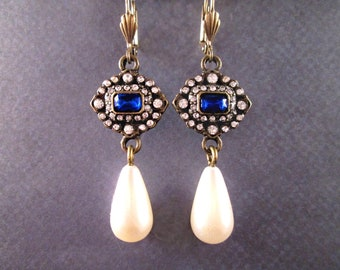 Rhinestone and Pearl Earrings, Sapphire Blue and White Rhinestones, Brass Dangle Earrings, FREE Shipping U.S.
