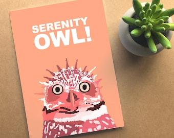 Serenity Owl - Seinfeld card - whimsical bird card - serenity now - blank greeting card