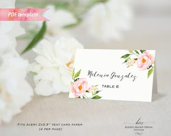 Printable Blush Pink Floral Tent Place Card, Editable PDF Template, Wedding Reserved Card, Fit Avery Paper, DIY Instant Download #05