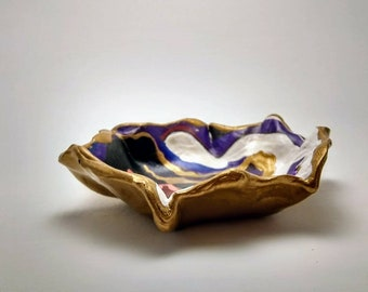 Gold Spiraled Multi Color Ring Dish