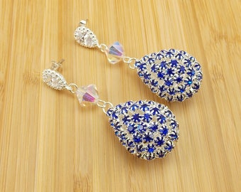 Earrings - Large Royal Blue Studded Teardrop with Crystal and Teardrop Post - Bling - Bride - Bridesmaid - Wedding Jewelry - Sapphire