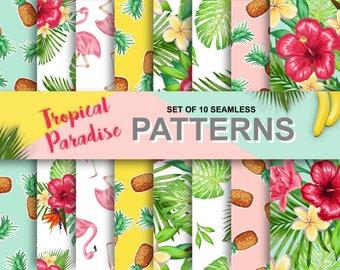 Tropical Floral Watercolor Digital Scrapbook Paper Pack - Set of 10