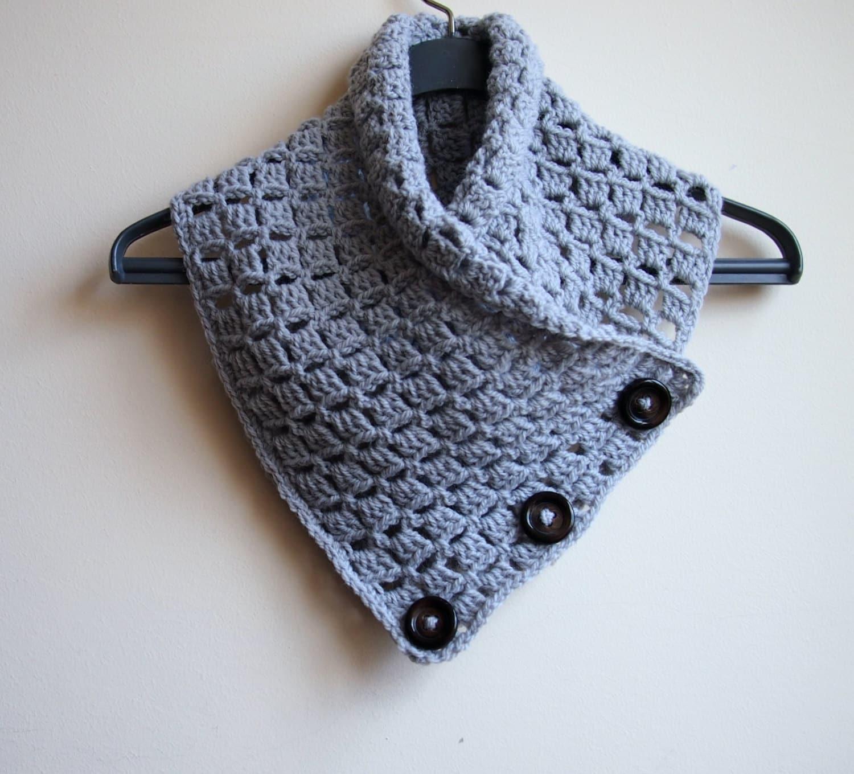Crochet PATTERN button cowl, man neckwarmer, men scarf, woman cowl ...