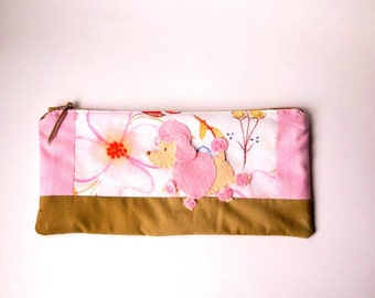 "Zipper Pouch, 4.75x9.75"" in pink, white, gold, blue and peach dogwood fabric with Handmade Felt Poodle Dog Embellishment, Dog Zipper Pouch"