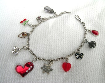 Gorgeous red black white silver tone upcycled repurposed handmade hand crafted vintage charm bracelet: hearts, cherries, diamante, snowflake