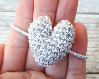 Silver Heart Hair Tie or Bracelet / Birthday Gift for Her / Heart Ponytail Holder / Crochet Shiny Heart / Made to Order / Colours of Choice