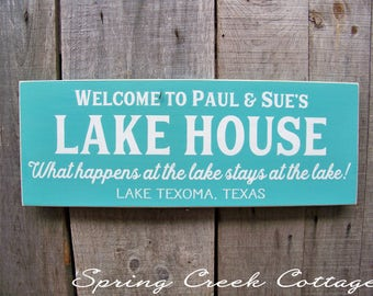 Personalized Signs, Custom Signs, Anniversary Gift, Sign, Name Sign, Lake, Cabin,  Handpainted, Lake House, Housewarming Gift, Rustic Signs