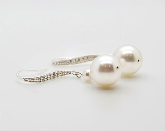 Pearl Dangle Earring for Beach Wedding, Simple Pearl Bridal Earrings For Fall Wedding, Earrings Handmade For Bridesmaid Wedding Gift