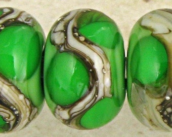 Grass Green Handmade Lampwork Glass Beads, Lampwork Bead Set, Handmade Lampwork, Green Beads, Organic Web, Glossy 11x7mm Grass Green