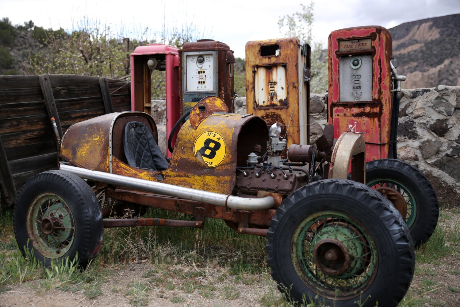 Hot Rod Old Race Car Old Hot Rod Old Gas Pumps Rusty