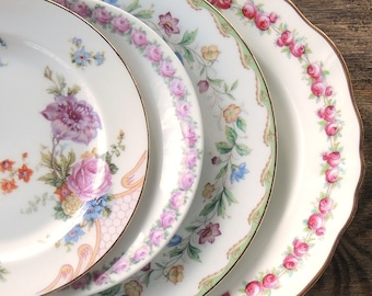Mismatched Cottage Style Vintage Pink Plates Set of 4 Dessert Plates Salad Plates for Wedding Tea Party Replacement China