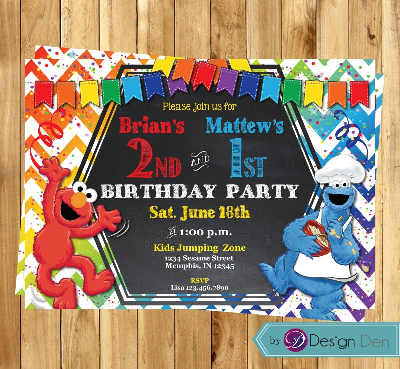 Elmo Cookie monster joint party Birthday Invitations / Elmo