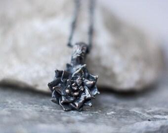 Succulent Pendant ~ 925 Oxidized Black Sterling Silver - Cast Silver Succulent