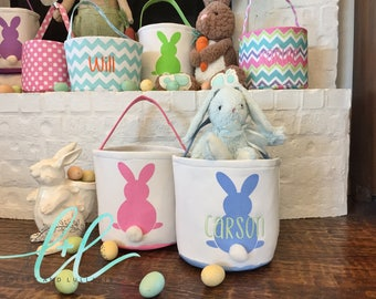 Monogrammed Cotton Tail Easter Bunny Basket Personalized Easter Bunny Basket Kids Easter Basket