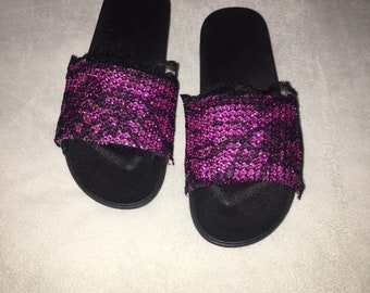 Pink Lace Jeweled Slides